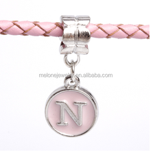 "Lovely European Duplex Enamel Pink ""N"" Alphabet Letter Dangle Charm Beads Bracelet Accessories"