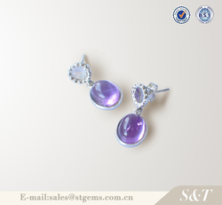 Silver jewelry online long hanging modern design round shape coloured earrings