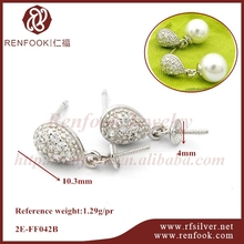 RenFook factory direct sale 925 sterling silver earring stud drop and pearl cap