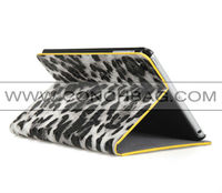 Wallet style sexy leopard pattern unbreakable protective case for ipad mini