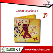 listen you love! custom happy birthday music greeting card/music birthday party invitation card