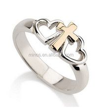 Cross Ring with Two Hearts and a Gold Cross Heart Ring