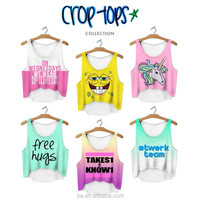 Top selling high fashion bright color ready stock wholesale 3D digital print young ladies crop top