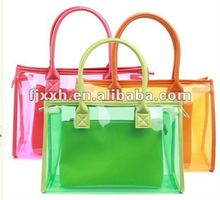 Transparent colourful PVC hand bags for girls