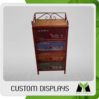 Customized new arrival wooden clothes display showcase bracket
