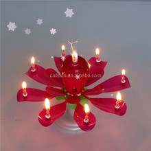 rotating rose flower birthday candle/top seller music birthday candle