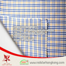 2015 popular 100% cotton long stapled blue and yellow check fabric