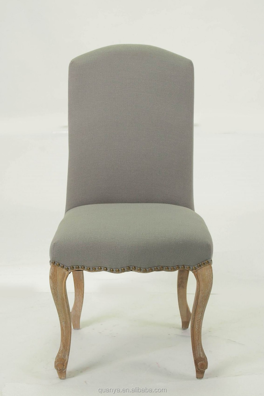 Upholstered Durable High Back Fabric Wooden Dining Chair