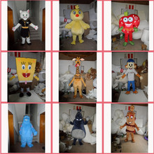 Hot !!! Popular fur cartoon character SpongeBob mascot costume for adult