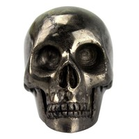 metal storm! 2 inch carved pyrite skull , best for gift and home decor