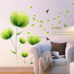 Green Flower wall decal sticker for home decoration in stock