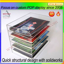 retail shop interior design A5 notebook display cases clear acrylic