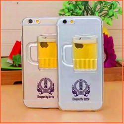 alibaba express Beer Cup glitter liquid tpu transparent case cover for iphone 4 4s