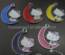 Hot sale custom made multiple 2015 new design moon kitty dangle