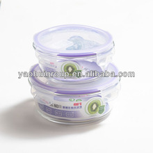 Transparent Round Microwave Oven Glass Storage Lunch Box 2013 New Products