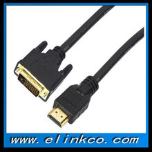 High speed HDMI to DVI24+1 cable with ferrites for Ethernet for 3D 1080p