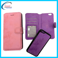 2 IN 1 LEATHER WALLET CASE WITH MAGNETIC DETACHABLE TPU COVER FOR APPLE FOR IPHONE