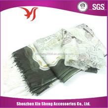Customized design white silk scarf for painting