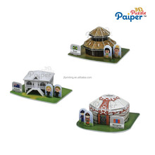 Chinese kids games board 3d puzzle house