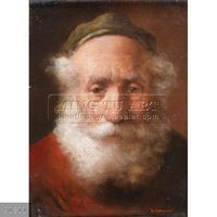 100% Handmade Classical Judaica Oil Painting Rich Jewish Man Counting Coins,Old Man#91311