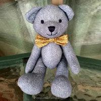 20cm New design grey Cloth bow tie Teddy Bears,joint bear stuffed toy