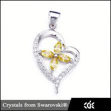 Por cristales de Swarovski de la joyería fabricante de China venta al por mayor topacio colgante de corazón