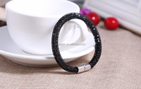 Newest Style Hot Fashion Crystal Rhinestone Magnetic Clasp Braided Reticular Fancy Gifts Diamonds Snap Bracelets