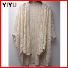2015 hot sale lace front patchwork mix yard hollow-out cardigan fabric women sweater