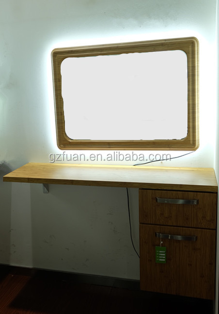 LED beauty salon hair styling mirror station with table -> Table Salon Led