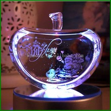 High Quality K9 Material Crystal Christmas Ornaments Apple with LED Light Base