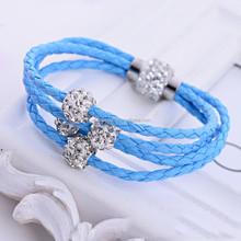 3 Layer shamballa beads pu leather man sports bracelet