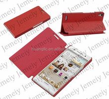 Premium PU Leather Wallet Case Stand Smart Phone Protective Cover For Huawei Ascend P6