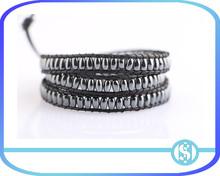 high end hematite beads wrap leather bracelets birthday gift