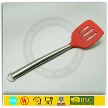 silicone head stainless steel handle soltted egg turner kitchen tools