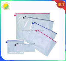 Good quality transparent mesh vinyl pvc zipper bag
