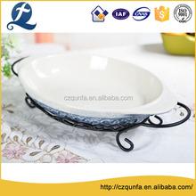 High grade ceramic oven safe multi color oval bakeware