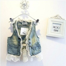 A8076 children's clothing wholesale summer new high-grade girls' hair washed denim vest