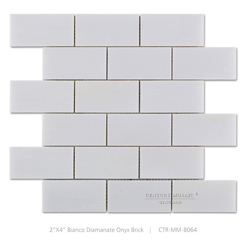 벽돌 모양 종이 흰색 오닉스 대리석 모자이크 욕실 벽 타일 ...
