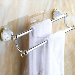 Wholesale And Retail Luxury White Painting Inlaid Crystal Towel Rack Holder Chrome & Golden Dual Towel Bars Towel Hanger