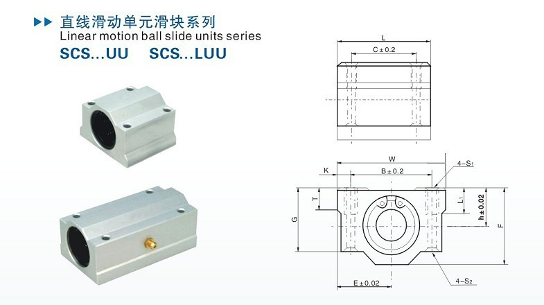 Subalmacén de forma lineal lineal auto linear trineo scs25uu para 25 mm ola etscs 25uu