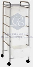 """Salon"" Five White Drawer Plastic with Top Punching Table Salon Trolly"