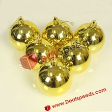 Golden Glossy Hanging Decorative Display Ornament Ball for Xmas Christmas (6CM, 6PCS/Pack)