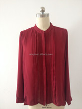 New fashion ladies long sleeve chiffon blouse tops with pleated front