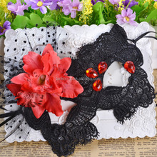 Half face party lace mask with red flower decoration Masquerade carnival mask