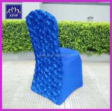 Luxury Royal Blue Elastic Stretch Spandex Rosette Chair Cover For Wedding
