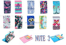 Cute Owl Bow PU+TPU Leather Stand Flip Wallet Case For Samsung Galaxy Note 3 III N9000