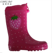 Environmental Rain Boot , Pink Ground Has Spots Printing With Strawberry Patch Heart Natural Rubber With Oxford For Girls