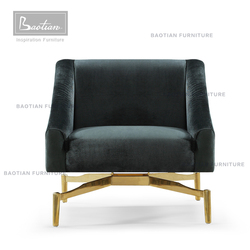 italian furniture chair fabric cover with stainless steel base