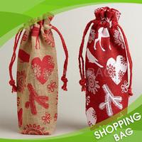 Qualilty Custom Print Jute Drawstring Holiday Wine Gift Bag