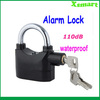 Black Anti-Theft Alarm Lock Security System for Door Motor Bike Bicycle Padlock 120dB wholesale with retail package